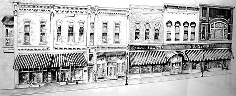 Pencil Drawing of Corner Drug Store and Shoppes